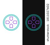 Line Gamepad Icon Isolated On...