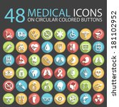48 medical icons on circular... | Shutterstock .eps vector #181102952