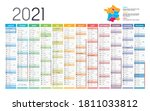 year 2021 colorful wall... | Shutterstock .eps vector #1811033812