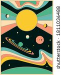 psychedelic space 1960s style...   Shutterstock .eps vector #1811036488