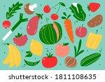 vegetarian food doodle set.... | Shutterstock .eps vector #1811108635