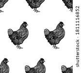 seamless pattern.  hicken... | Shutterstock .eps vector #1811116852