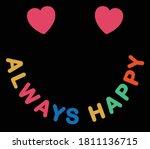 always happy slogan with...   Shutterstock .eps vector #1811136715
