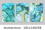 teal  blue and gold marble...   Shutterstock .eps vector #1811140258