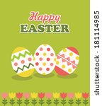 happy easter card design.... | Shutterstock .eps vector #181114985