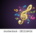 colorful music background with... | Shutterstock .eps vector #181116416