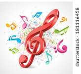 colorful music background with... | Shutterstock .eps vector #181116458