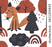 pattern with a fox in the... | Shutterstock .eps vector #1811205835
