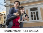 man on a horse of a woman | Shutterstock . vector #181128365