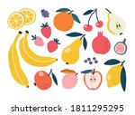 set with hand drawn fruit...   Shutterstock .eps vector #1811295295