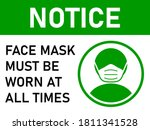 notice face mask must be worn... | Shutterstock .eps vector #1811341528