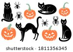 Set Of Halloween Clipart With...