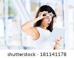amazed jaw dropped woman... | Shutterstock . vector #181141178