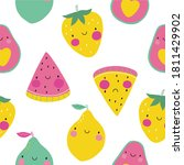 hand drawl summer print with...   Shutterstock .eps vector #1811429902