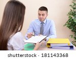 job applicant having interview | Shutterstock . vector #181143368