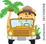 a cute cheetah driving in his... | Shutterstock .eps vector #1811436568