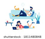 man and woman with laptop...   Shutterstock .eps vector #1811480848