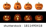 halloween carved spooky pumpkin ... | Shutterstock .eps vector #1811490418