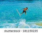 teenage boy skimboarding on the ...   Shutterstock . vector #181150235