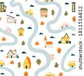 town map pattern. seamless cute ... | Shutterstock .eps vector #1811516812
