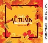 autumn sale graphic with leaves | Shutterstock .eps vector #1811572192