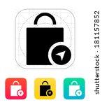 shopping bag location icon.