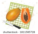 papaya vector illustration with ... | Shutterstock .eps vector #1811585728