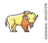 Bison Rgb Color Icon. North...