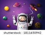 paper art style of a little boy ... | Shutterstock .eps vector #1811650942