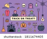halloween characters and icons... | Shutterstock .eps vector #1811674405
