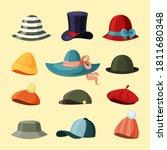 Caps And Hats Set. Trendy Green ...