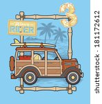 retro surf car at the beach | Shutterstock .eps vector #181172612