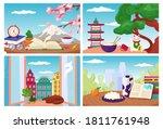 Travel Postcards Set Of Vector...