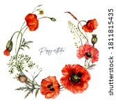 Watercolor Wreath Made Of Red...