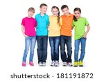 Small photo of Group of happy children in colorful t-shirts standing together in full length on white background.