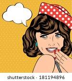 pop art retro woman in comics...   Shutterstock .eps vector #181194896