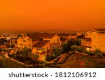 Small photo of Thick orange haze above San Francisco on September 9 2020 from record wildfires in California, daytime view of ash and smoke floating over the Bay Area