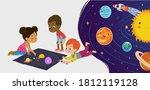 children sitting on floor... | Shutterstock . vector #1812119128