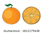 a hand drawn orange isolated on ...   Shutterstock .eps vector #1812179638