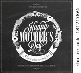 vintage happy mothers's day... | Shutterstock .eps vector #181219865