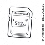 outline of compact memory card. ...   Shutterstock .eps vector #1812202192