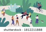 relaxed tiny people enjoying... | Shutterstock .eps vector #1812211888