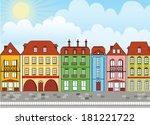 european houses day   Shutterstock .eps vector #181221722