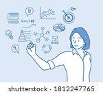women drawing her  business...   Shutterstock .eps vector #1812247765