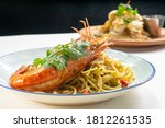 Close Up King Prawn Spaghetti