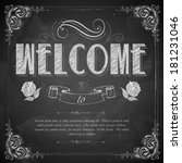 illustration of Welcome written on chalkboard - stock vector