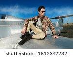 Handsome Man Pilot Wearing...