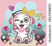 the scene of a cartoon cat... | Shutterstock .eps vector #1812348892