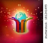 multi colored arrow with globe   Shutterstock . vector #181241495