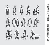 People Walking Vector Line...